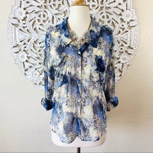 {Free People} Blue Feather Print Button Down